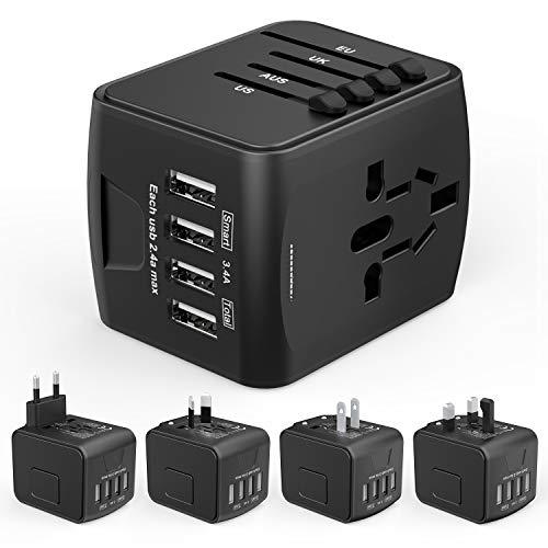 HUANUO Reiseadapter Weltweit für 224 Ländern mit 4 USB Ports + 1 AC Steckdose mit LED-Anzeige -