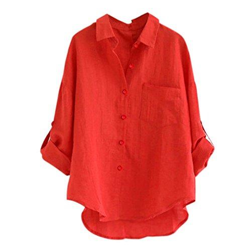 AMUSTER Damen Leinen Blusen Elegant Langarm Freizeit Oberteil Lose Langarmshirt V-Ausschnitt Tunika Sommer T-Shirt Top Loose Fit Hemd Bluse M-2XL