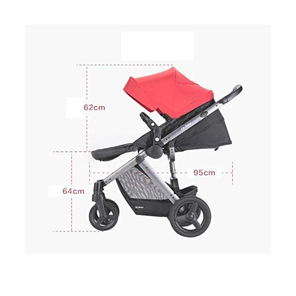ZhiGe Pushchair Stroller High-View Reclining Foldable Baby Trolley Connecting Rod Super Shock Absorber Trolley ZhiGe Light city stroller Ideal for a daily life with bus or train Compact folding size 6