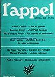 APPEL (L') du 01/11/1974 - FAITS ET GESTES PAR LEFRANC -JEAN-PAUL FASSEAU PAR LE DR PEYRET -UN MONDE SI MALHEUREUX PAR DE SAINT ROBERT -LA CRISE ECONOMIQUE PAR VALLON ET BORROMEE -L'AVENIR DU PORTUGAL PAR CARVALHO ET LE ROUX -L'UTOPIE POSSIBLE PAR PI