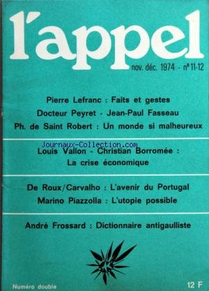 APPEL (L') du 01/11/1974 - FAITS ET GESTES PAR...