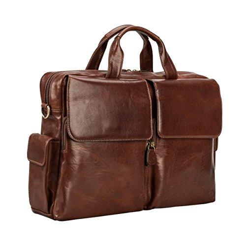 Maxwell-Scott® Luxus Leder Designer Aktentasche in Cognac Braun (Lagaro)