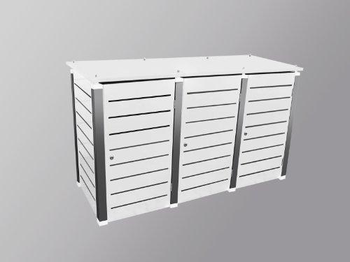 Mülltonnenbox Modell CaldoBox Line für drei 240 Liter Tonnen in Weiß
