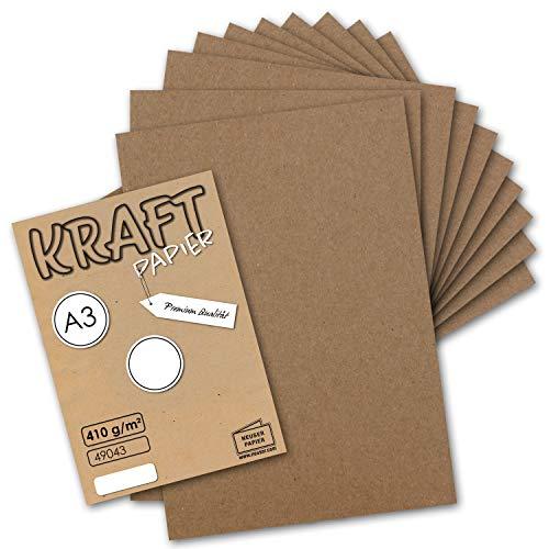 10x Vintage Kraftpapier DIN A3 410 g/m² Natur-braunes Recycling-Papier Bastel-Karton Künstler-Karton Künstler-Pappe I Umwelt by Gustav NEUSER® (Karton-recycling)