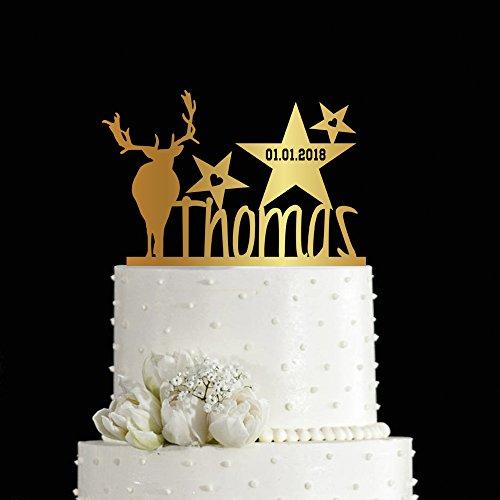kiskistonite 1. Kuchen Topper Elk Thema individuellen Geburtstag Jahrestag Party Gastgeschenken einen Kuchen dekorieren Supplies Baby Dusche für Jungen Mädchen | Golden