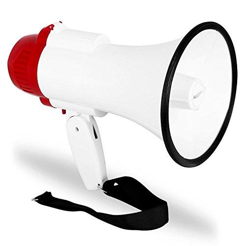 auna MEG1 • Megafon • Sprachrohr • Megaphone • tragbarer Lautsprecher • mit Sirene • 500 m Reichweite • 30 Watt max. • Aufnahme und Wiedergabe-Funktion • batteriebetrieben • rot-weiß