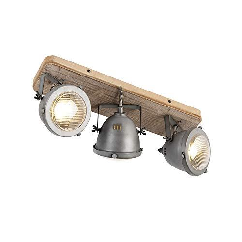QAZQA Industrial Plafón robusto acero oscurecido placa de madera 3 focos -...