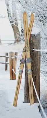 Textilbanner - Thema: Weihnachten - Weihnachtsmotiv: Skier im Schnee - 180cmx75cm - Banner zum Hängen & Dekorieren