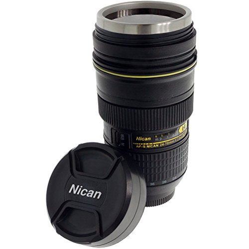 Smartfox Kaffeebecher Kaffeetasse Trinkbecher Thermobecher Objektivbecher im Kameraobjektiv Design ca. 300ml in schwarz