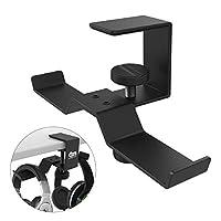 Dual Headphone Stand Holder, 6amLifestyle Universal Adjustable Metal Headset Hanger Earphone Hook Clip Mount Holding 2 Headphones, Under Desk Design - Black