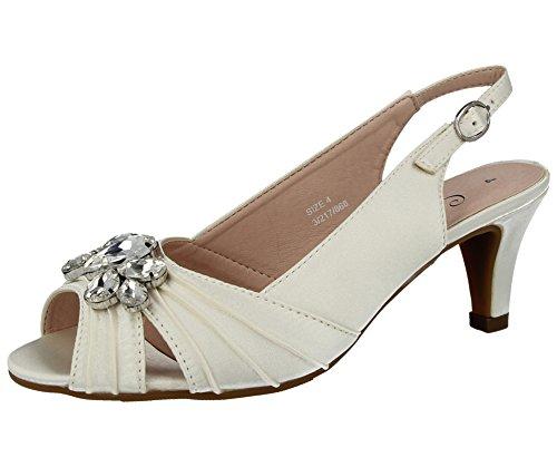 Comfort plus, missouri - sandali da donna in raso con strass, mezzo tacco a stiletto, cinturino posteriore, pianta larga, scarpe ideali per matrimonio, avorio (ivory), 36.5