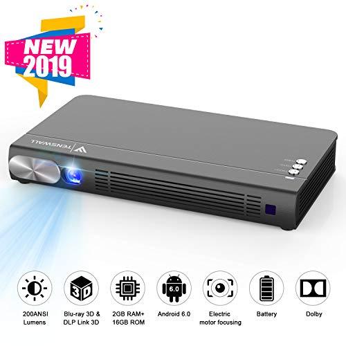 Tenswall Mini Beamer, HD Projektor Tragbar 200ANSI Lumens DLP Videobeamer WiFi Heimkino-Projektor Multimedia Unterstützung 1080P/ 4K/ 3D HDMI, Kompatibel mit Fire TV / PS3 / PS4 / TV Box/ Chromecast ...