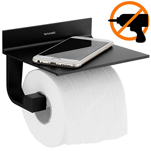 Wangel Toilettenpapierhalter ohne Bohren, Patentierter Kleber + Selbstklebender Kleber, Aluminium, Matte Finish, Schwarz