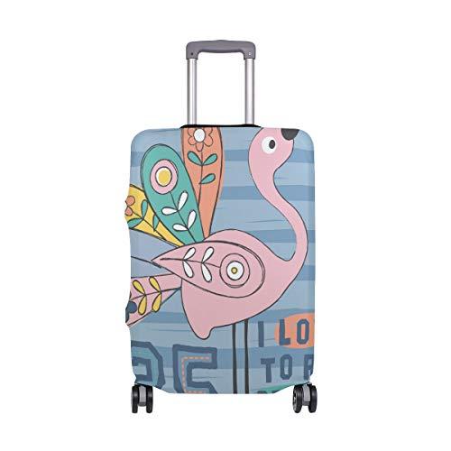 Alinlo Reisegepäckabdeckung, Motiv: Flamingo Love to Run
