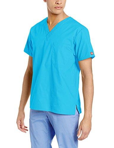 Dickies Men's Eds Signature Unisex V-Neck Scrub Top, Turquoise, Large (Scrubs Dickies Eds)