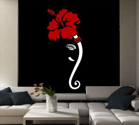 DECOR Kafe Home Decor Ganesha Flower Wall Sticker, Wall sticker for bedroom, Wall Art, Wall poster (PVC vinyl, 33 X 73 CM)  available at amazon for Rs.299