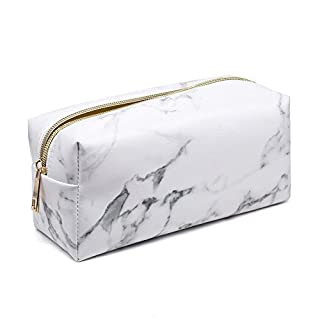 Marble Makeup Bag Waterproof Portable Travel Cosmetic Tool Storage Bags, Alxcio PU Toiletry Make-up Organizer Wash Pouch with Zipper Gift For Women Girls Ladies