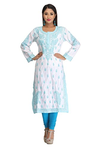 Ada Women's Cotton Handmade Kurti Dress With Chikan Stitches A116402 (White)