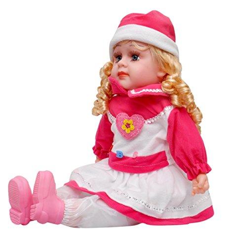 Toyshine 18 Inches Rhymes Singing Boy Doll, Touch Sensors, Pink Santa