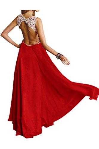 Ivydressing Damen V-Ausschnitt steine Chiffon Lang Festkleid Promkleid Abendkleider Rot