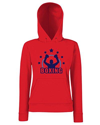 T-Shirtshock - Sweats a capuche Femme TBOXE0114 White boxing4 Men Rouge