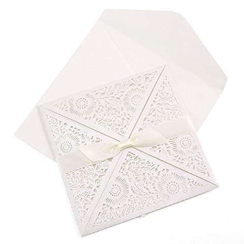 20er Einladungskarten Elegante Blumen Spitze Design mit Karten, Umschläge, Einlegeblätter zum Selbstbedrucken Hochzeit Geburtstag Taufe Party Einladung
