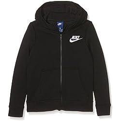 Nike G Nsw Hoodie Fz Club Gfx Sudadera, Niñas, Negro (Black/White), XL