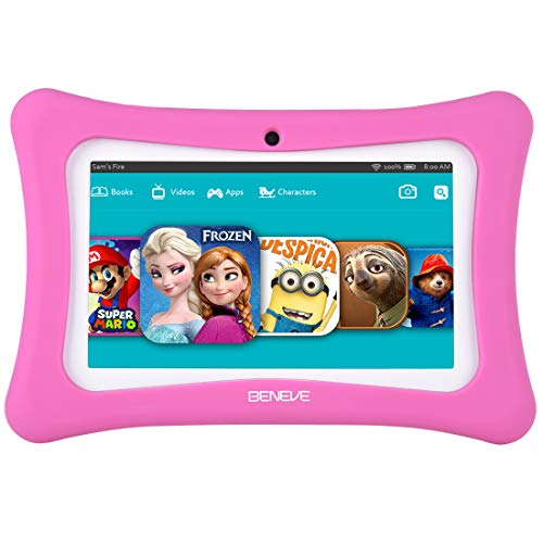 beneve Tablet für Kinder, 7 Zoll Tablet PC mit 1GB RAM 8GB ROM, Kinder Tablet inkl WiFi, Kindersoftware Iwawa Vorinstalliert, Kid-Proof Case (Rosa)
