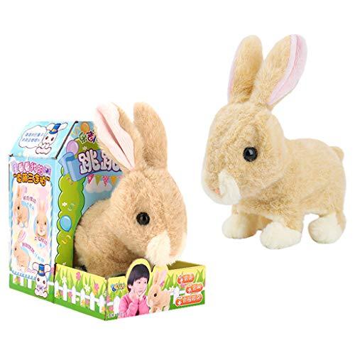 BOOMING Osterhase Plüschtier, süßes Plüschkaninchen des niedlichen gehenden Haustieres des elektrischen Spielzeugs geben dem Kind EIN hygienisches und umweltfreundliches Ostergeschenk (Khaki)