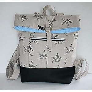 naturfarbener Rucksack Backpack Kuriertasche mit Vögeln