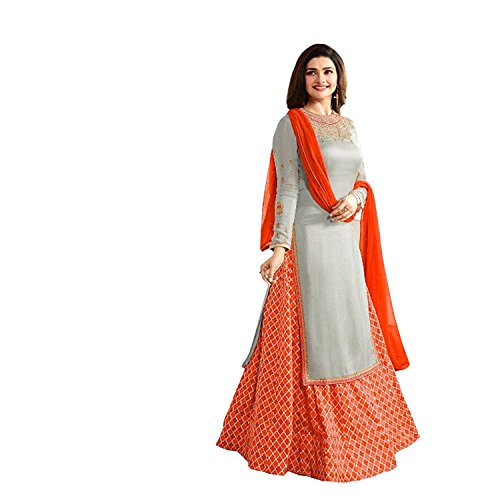Crazy Women's Party Wear Georgette Salwar suits for women Semi Stitched (Orange)