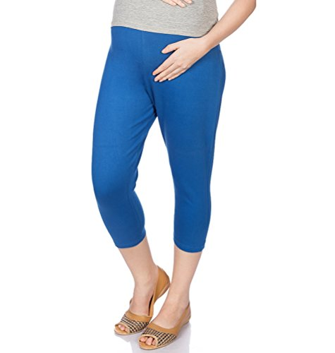 Goldstroms Women's Maternity Capri (Royal Blue, Large)