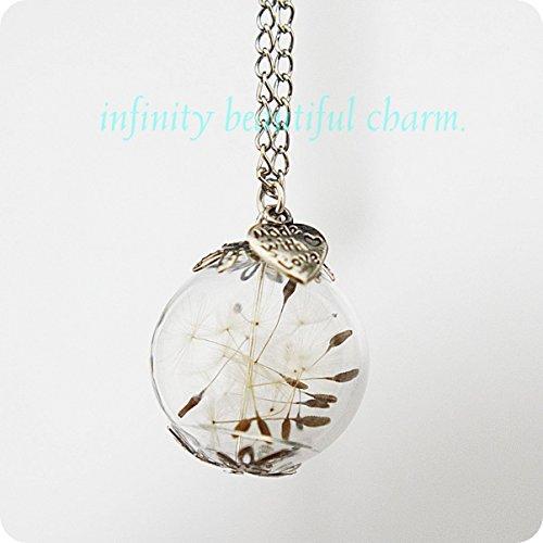 Natur Pusteblume mini Orb Silber Make A Wish Pusteblume Saatgut Glas Anhänger Blume Botanical Petite Kleine Version Wish Anhänger (Orb-kleiner Anhänger)