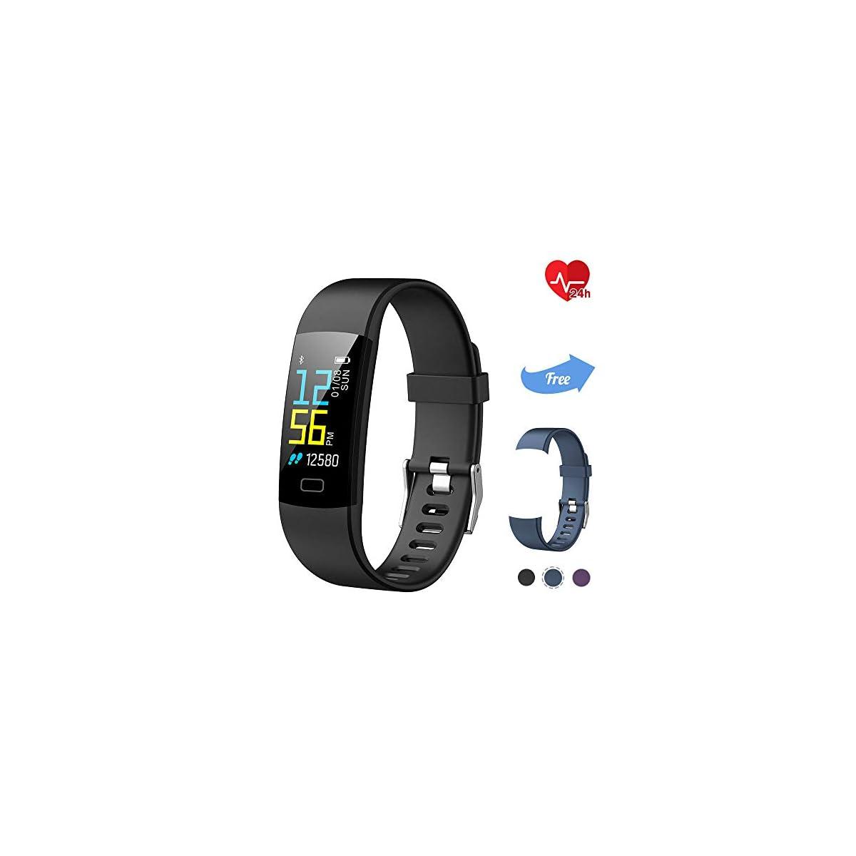41%2BDRZdSc5L. SS1200  - TwobeFit Pulsera Actividad, Pulsera Inteligente Pantalla Color HR con Pulsómetro Pulsera Deportiva y Monitor de Ritmo Cardíaco Monitor de Actividad para Mujer Hombre