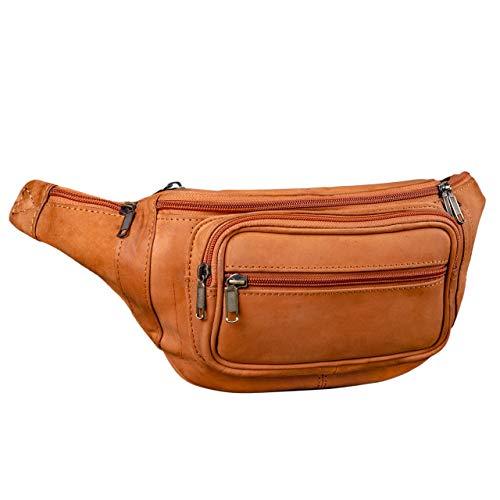 STILORD 'Maverick' Bolso riñonera Bandolera de Piel Estilo Retro Bolso de Cintura para Viaje de Hombres y Mujeres Bolsa de Cadera o cinturón de auténtico Cuero, Color:Naranja - marrón