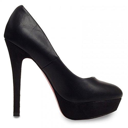 CASPAR Damen Klassische High Heels / Pumps mit Plateau Absatz und sexy roter Sohle - viele Farben - SBU012, Farbe:schwarz;Größe:EU36/UK3/US6 - 2