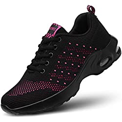 kashiwu Femmes Air Sports Chaussures de Course Choc Absorbant Trainer Courir Jogging Trainers Trainers Fitness Léger Chaussures(Black/Red 38EU)