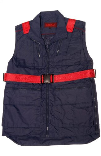 Bagket, Weste mit Multifunktions-Taschen, umwandelbar als Umhängetasche Taschen geeignet für 13Zoll Laptop, iPad, iPhone und alles, was Sie auf Reisen benötigen. Gr. XL, blau