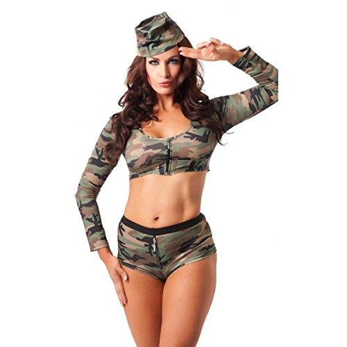 Rimba Sexy Uniform Damen Militärische mit Cap Camouflage Größe M/L (Camouflage-uniformen Militärische)