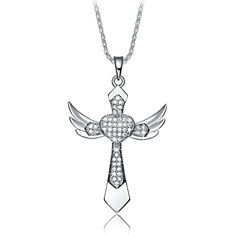 NEEMODA White Gold Plated Angel Wings Cross Pendant Heart Necklace for Women AAA Cubic Zirconia Religious Jewellery Gifts for