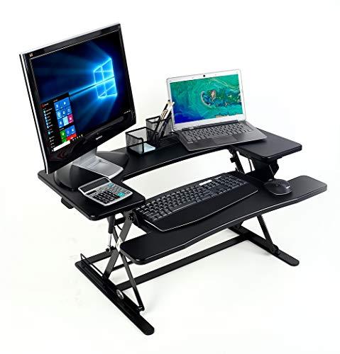 CHANKONG Stehpult, 90cm Höhe verstellbaren Stehpult, sitzen aufstehen Schreibtisch Topper Riser Stand Up Desktop-Konverter passt 2 Monitore Black -