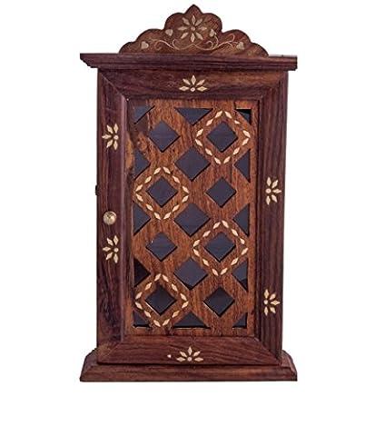 Vian en bois indien fait main mur support clé Armoire Cum. Bonne à gérer toutes les clés à l'intérieur.