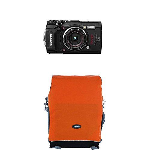 Olympus Tough TG-5 Digitalkamera (12 Megapixel, 25-100mm 1: 2,0 Objektiv, Feld-Sensorsystem, GPS, Manometer, Temperatursensor, Kompass) schwarz+Rollei Traveler Fotorucksack Canyon M Orange