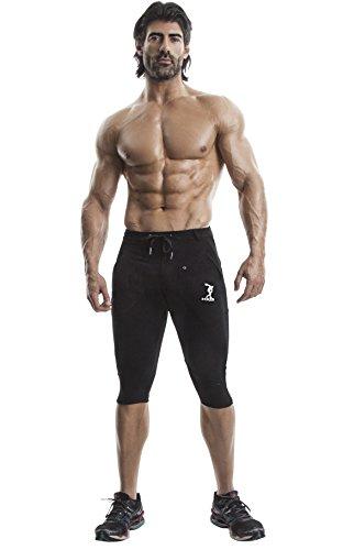 DEMIG Yogahose für Herren, organische Stretch-Baumwolle, 3/4-Capri, elastische Taille, Jogginghose, sportlich, lässig, Schwarz - Schwarz - Mittel -