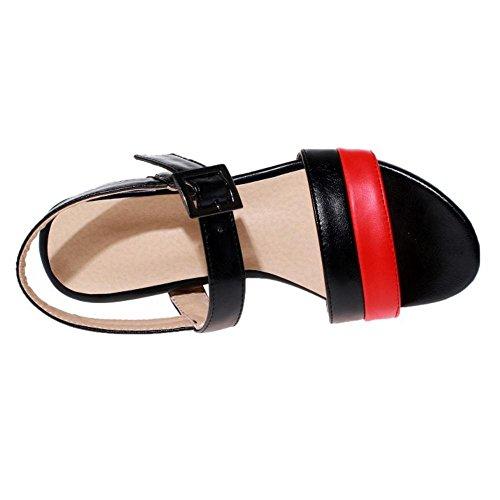 TAOFFEN Femmes Bout Ouvert Sandales Bloc Talons Moyen Mode Ete Chaussures De Boucle Noir
