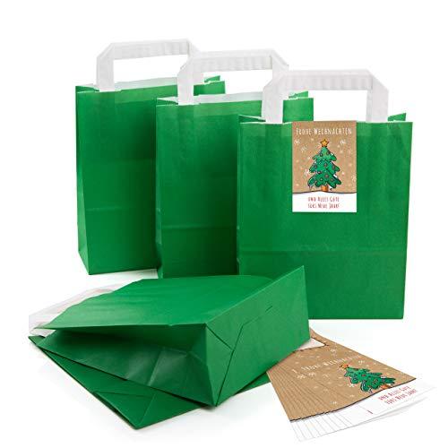 (25 kleine dunkel-grün Papier-Tüte Geschenk-Tasche mit Henkel Boden 18 x 8 x 22 cm + 25 Aufkleber FROHE WEIHNACHTEN ALLES GUTE FÜRS NEUE JAHR grün bunt beige Geschenkverpackung SET Be-Füllen bio)