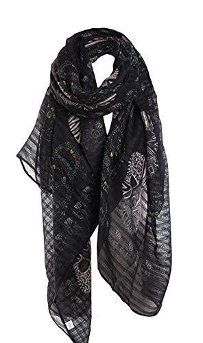Générique Pañuelo bufanda foulard Calavera fondo negro, 180 x...