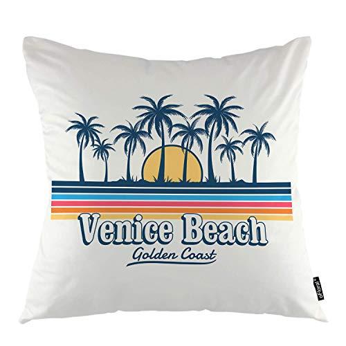 funny cat Strand Dekokissen Abdeckung Malibu Beach Coast Tropical Palm Tree Sunset Wave Dekorative Kissenbezug Wohnkultur für Sofa Schlafzimmer Liveroom Kissenbezug case 45X45 cm - Malibu-set Bett