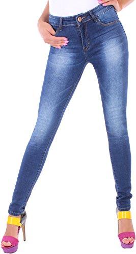 Black Denim BD Damen Hight Waist Stretch Röhren-Jeans-Hose Hochschnitt in blau mit Waschung 36S (Jeans Denim Black Skinny)