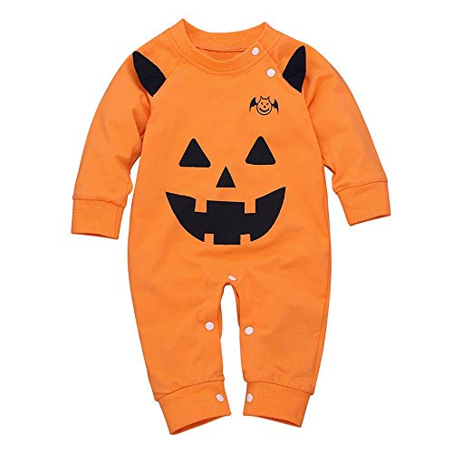 Halloween Kostüm Baby Kürbis Strampler Cosplay Spielanzug Cosplay Party Jumpsuit Langarm Outfits Baby Body Kleinkind Unisex Neugeborenes Bodysuit Unisex Unterwäsche Baumwolle Overall Set (Wenig Kürbis Kostüm)